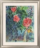 Flores y enamorados Lámina por Marc Chagall