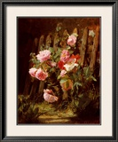 Pink Roses by a Garden Fence Art by Alfred-Frederic Lauron