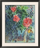 Flowers and Lovers Print by Marc Chagall