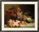 Still Life with Fruits and Flowers Poster by Pierre Bourgogne