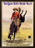 Buffalo Bill's Wild West, Cowboys Riding Wild Mustangs Framed Giclee Print