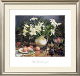 Lilies and Peaches Art by Del Gish