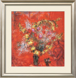 Fleurs Sur Fond Rouge, c.1970 Posters by Marc Chagall