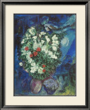 Bouquet with Flying Lovers Posters by Marc Chagall