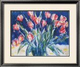 Red Tulips on Blue, 1930 Art by Christian Rohlfs
