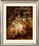 Flowers under a Lion Fountain Art by Auguste W. Reichelt