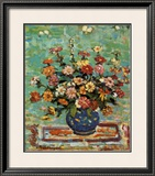 Flowers In A Blue Vase Poster by Maurice Brazil Prendergast