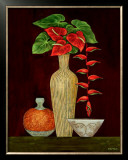 Red Anthuriums Prints by Misa Eva