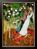 Three Candles Poster by Marc Chagall