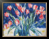 Red Tulips on Blue, 1930 Print by Christian Rohlfs