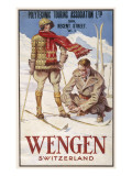 Holiday Poster for Wengen in Switzerland Showing a Couple Skiing Giclée-Druck