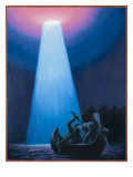 Four Men Canoeing in Maine are Startled by a Glowing Light in the Sky Giclee Print by Michael Buhler