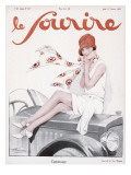 Flapper on Bonnet 1927 Giclee Print