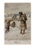 Four Sleigh Dogs are Harnessed Ready for Action. Young Eskimos Play in the Snow Lámina giclée