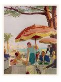 Glamorous People Sitting in a Cafe on the French Riviera Giclee Print