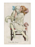 Girl and Cat Giclee Print