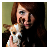 Girl, Chiwawa, Dog, Portrait, Close Up Giclee Print
