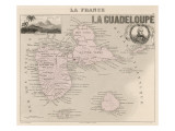 Guadeloupe Map Giclee Print