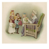 Five Smiling Children Bring Bouquets of Flowers to Grandmamma on Her Birthday Giclee Print
