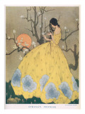 Illustration of a Lady Dressed in a Glamorous Ballgown Picking Flowers from a Tree Giclee Print