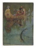 "Hiawatha Goes Fishing in His Canoe; ""'take My Bait, O King of Fishes!'"" Giclee Print"