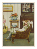 Girl Reads in Armchair Giclee Print
