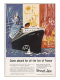 French Line Cruise Ships Giclee Print