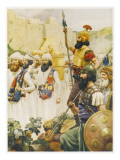 Joshua Takes the City of Jericho, Whose Walls Crumble at the Sound of His Trumpets Giclee Print