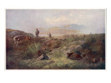 Grouse Shooting - Men and their Dogs on a Scottish Moor Giclee Print