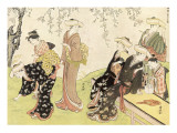 Japanese Women Gathering Flowers Giclee Print