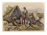 Highland Drovers Eating around a Small Fire. their Cattle Can Be Seen in the Distance Giclee Print