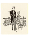Formal Wear: Morning Suit with Top Hat, Cane and Spats Giclee Print
