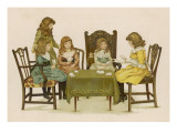 Five Girls Play Cards at a Table Giclee Print
