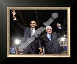 U.S. Senator Edward Kennedy & Senator Barack Obama at a 2008 Campaign Rally Framed Photographic Print