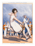 French Tennis Player Suzanne Lenglen in Action Giclee Print