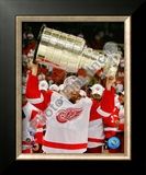Johan Franzen with the Stanley Cup, Game 6 of the 2008 NHL Stanley Cup Finals; 31 Framed Photographic Print