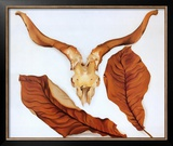 Ram's Skull with Brown Leaves Print by Georgia O'Keeffe