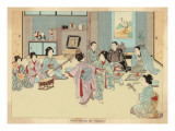 Geisha Women Dancing the Kappore to Musical Accompaniment for Three Male Clients Giclee Print