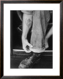 Rock-a-Billy Tattoo Jeans Framed Giclee Print by David Perry