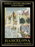 Barcelona Spain Fountain Framed Giclee Print