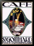 St. Gotthard CafAA© Framed Giclee Print by Otto Baumberger
