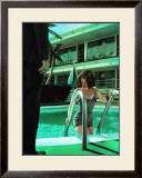 Pin-Up Girl: Caribbean Motel Poolside Framed Giclee Print by Richie Fahey