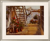 Blue Stair and Begonias Print by John Atwater