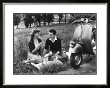 Vespa Piaggio Romance on the Grass Framed Giclee Print