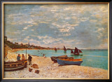 Beach at Sainte-Adresse Prints by Claude Monet
