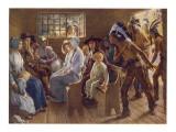 Native Americans Interrupt a Puritan Church Service Giclee Print
