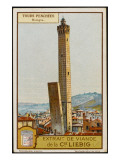 Leaning Towers of Bologna, Italy - La Garidenda and Torre Degli Asinelli Giclee Print