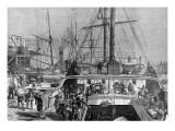 Landing Oranges at Fresh Wharf, London Bridge, 1874 Giclee Print