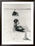 Salt Flat Motorcycle Pin up Poster Framed Giclee Print by David Perry