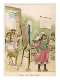 Mary's Little Lamb Not Only Follows Her to School But Nibbles the Teacher's Bonnet Giclee Print